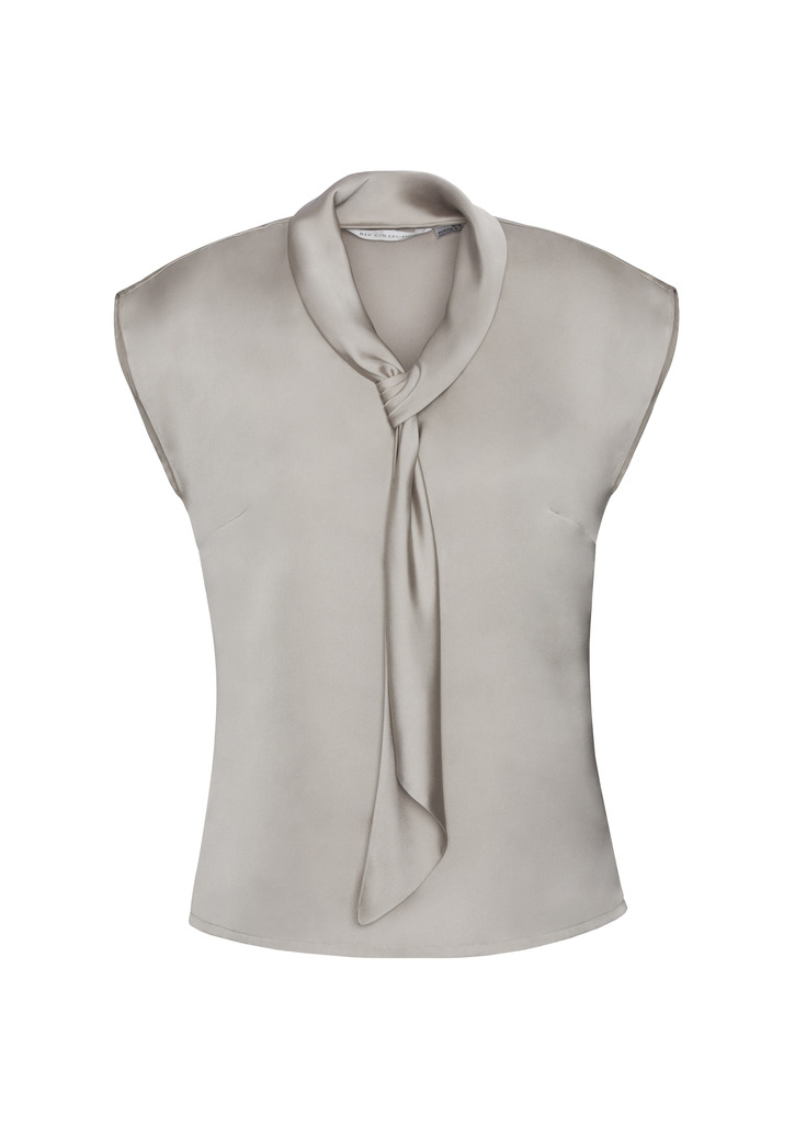 Biz Collection Ladies Shimmer Tie Neck Blouse Top Business Shirt  Satin Fabric